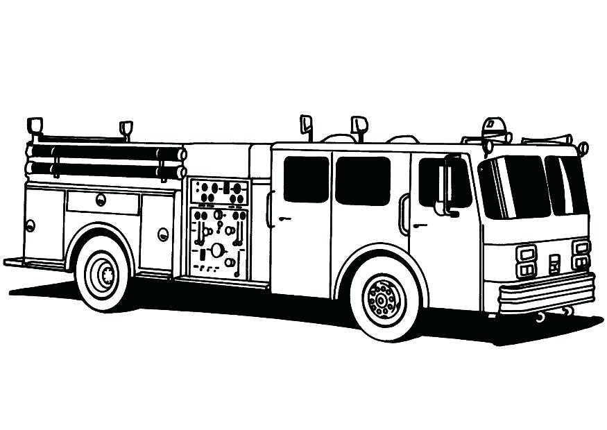 line art fire engine