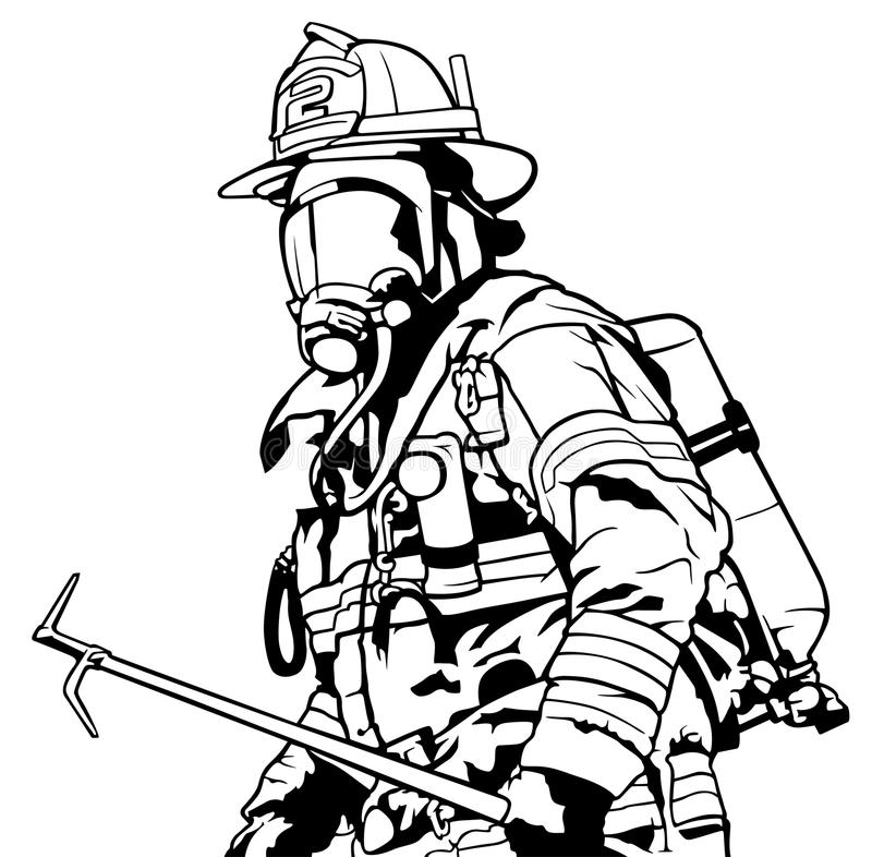 line art fire fighter in gear