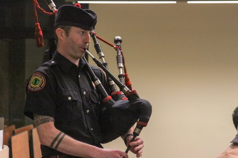 playing bagpipes
