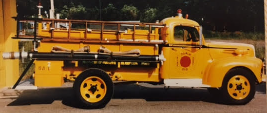 old yellow fire engine
