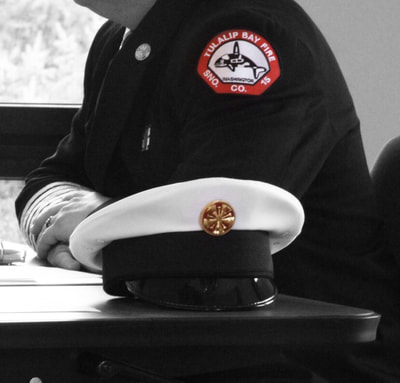 Fire Chief white dress hat