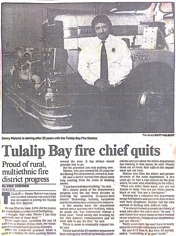 Newspaper article Tulalip Bay fire chief quits